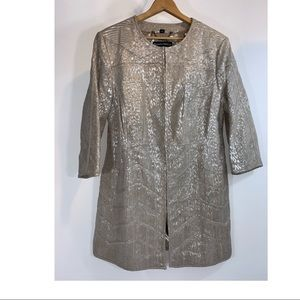 Pamela McCoy leather metallic blazer tan silver 1X